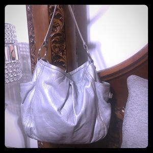 Coach silver/grey leather bag